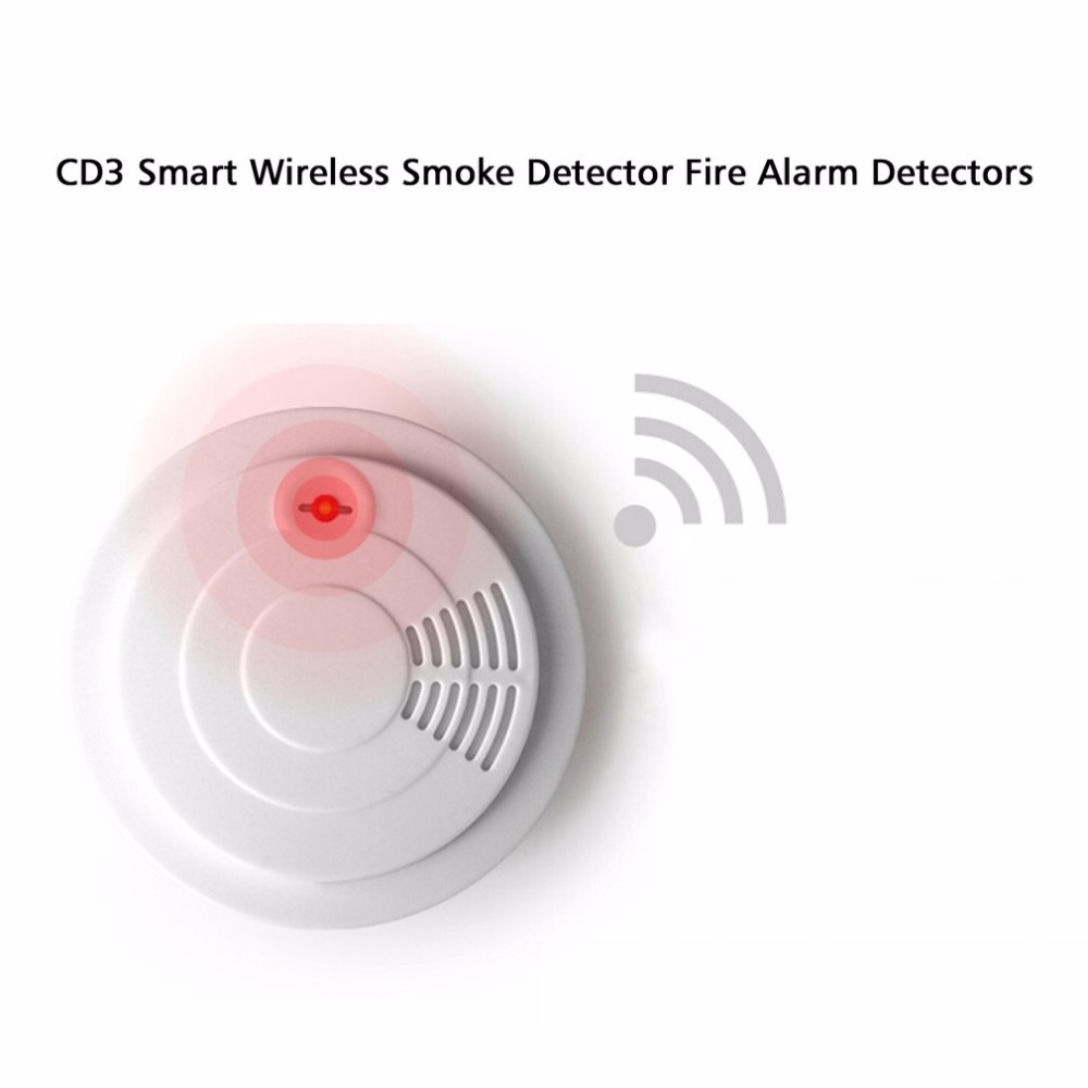 LESHP Mini 433 Wireless Smoke Detector Fire Alarm Sensor for Indoor Home Safety Garden Security 150M Transmitting distance wireless smoke fire detector for wireless for touch keypad panel wifi gsm home security burglar voice alarm system