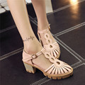 Summer Women Brogue High Heel Shoes Casual Retro Pumps Cut-Outs High Heels Gladiator Sandals Woman Plus Size 34-40 41 42 43
