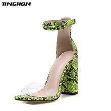 TINGHON Summer PU Sandals Women Transparent Square High Heels Buckle Daily Contracted Stripe Green White Size35-40