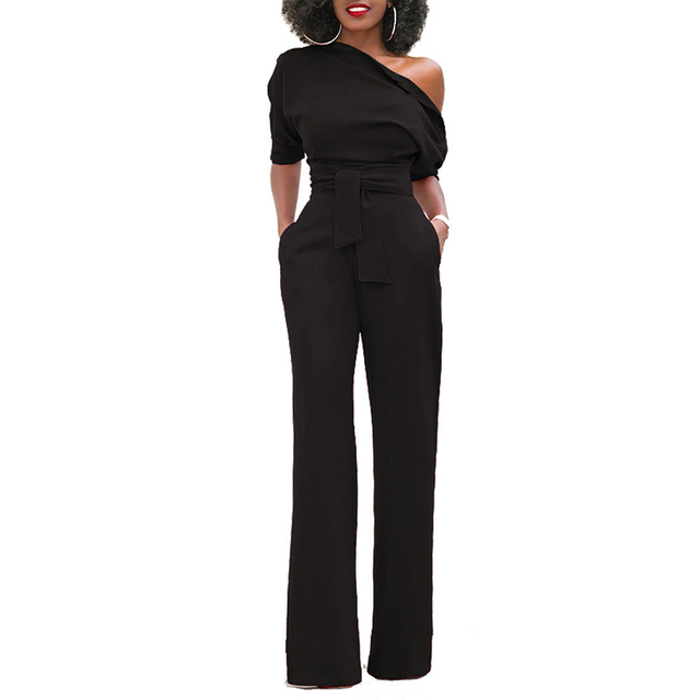 eaf8a41c26d 2018 Summer Classic Women Solid Wide-leg Jumpsuit Spring One Shoudler Short  Sleeve Long Playsuit