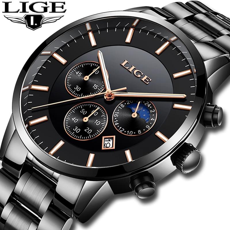 LIGE Mens Watches Top Brand Luxury Men's Sports Military Watch Men Stainless Steel Waterproof Quartz Watch Relogio Masculino