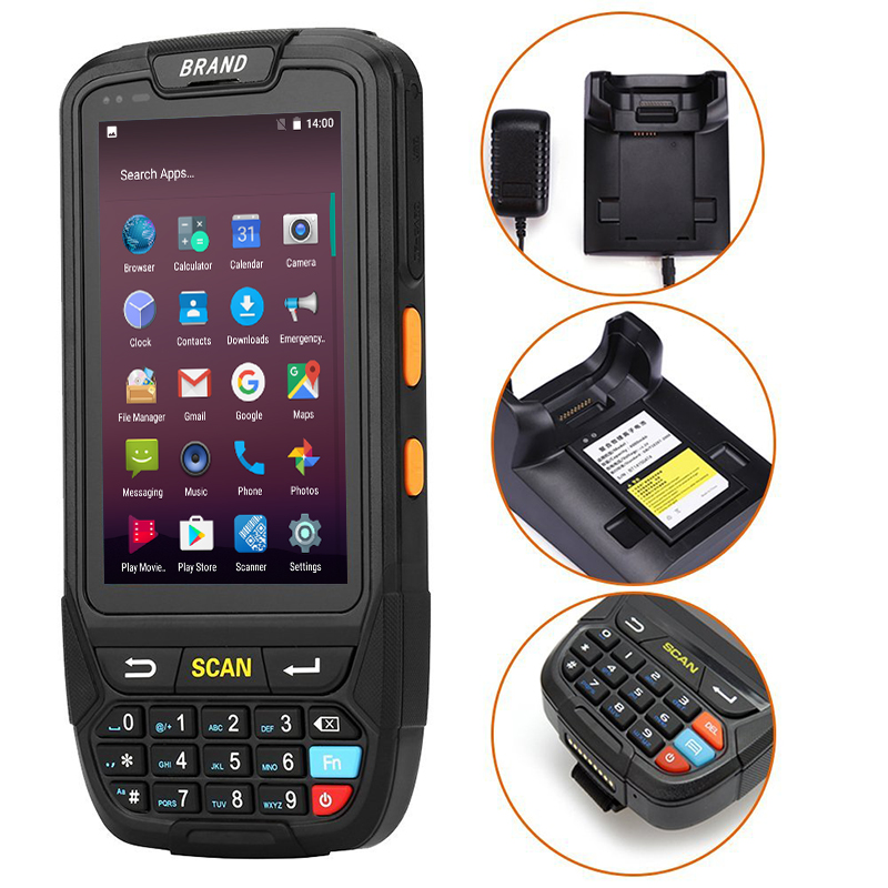 GZPDA01 Rugged PDA Android 7.0 with 4G WIFI Bluetooth QR code reader USB QR barcode scanner 1D 2D reader Barcode scanner reader bt handheld wireless 1d 2d qr barcode scanner bar code reader with usb receiver 2100 code storage capacity for pos pc android