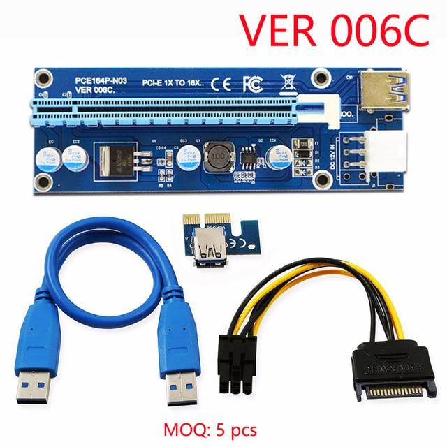 006C PCIe PCI-E PCI Express 1x a 16x De Riser Card USB 3.0 Adaptador de Cabo de Dados SATA de 6 pinos para a Mineração Bitcoin WK02