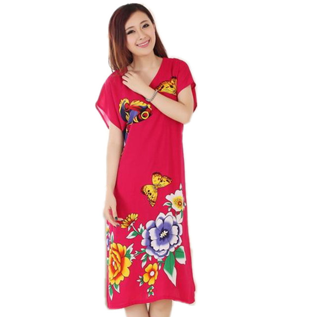 Новое Поступление Новый Летом С Коротким Рукавом женская Хлопок Ночная Рубашка Китайский Стиль Одеяние Ванна Платье Цветок Пижамы Один Размер T069