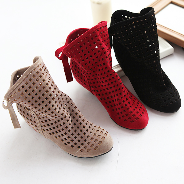 size 34-43 Womens Boots Summer Cute Flock Flat Low Hidden Wedges Solid Cut-outs Ankle Boots Ladies Dress Casual Shoes 3 colorssize 34-43 Womens Boots Summer Cute Flock Flat Low Hidden Wedges Solid Cut-outs Ankle Boots Ladies Dress Casual Shoes 3 colors