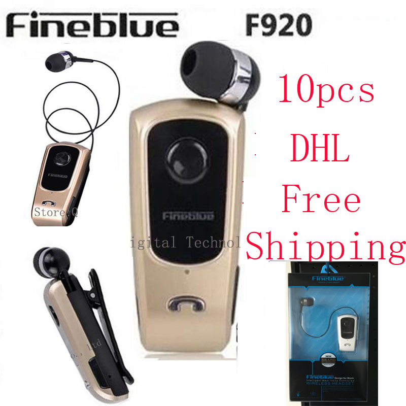 10PCS DHL Shipping FineBlue F920 Wireless auriculares driver Bluetooth Headset Calls Remind Vibration Wear Clip Sports Earphone