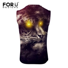 FORUDESIGNS Cool Gym Clothing Summer 2019 Casual Sleeveless 3D Tiger Print Fitness Clothing Gym Tank Top Men Streetwear Clothes