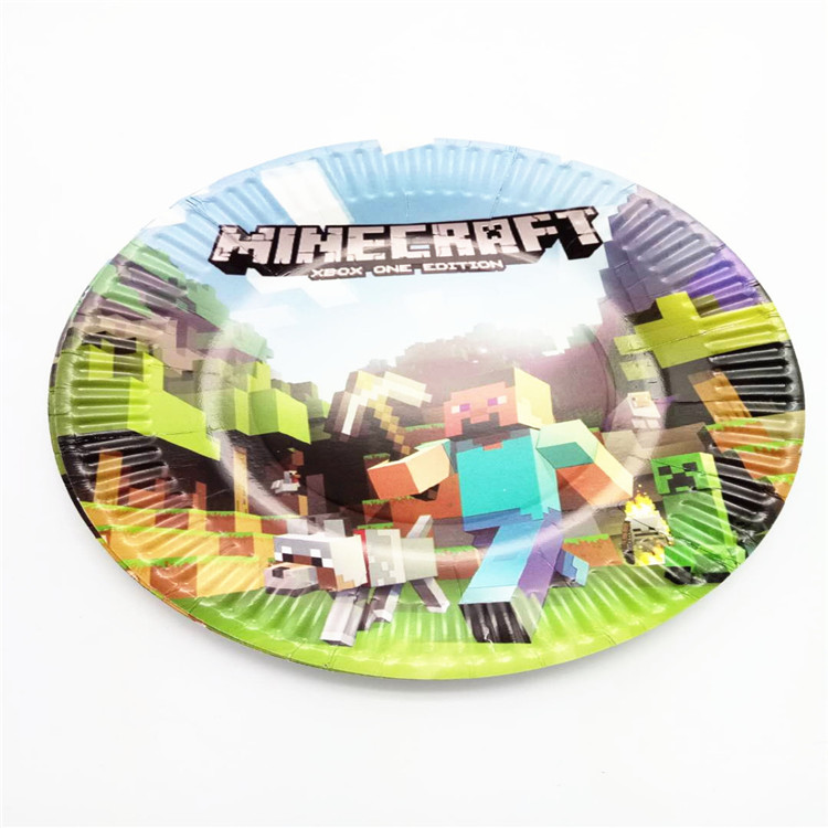 US $9 89 |20People Use 42Pcs Plate Cup Banner Map Birthday Party Decorate  Minecraft Event Party Home Xmas Family Supplies Tablewares Set-in  Disposable