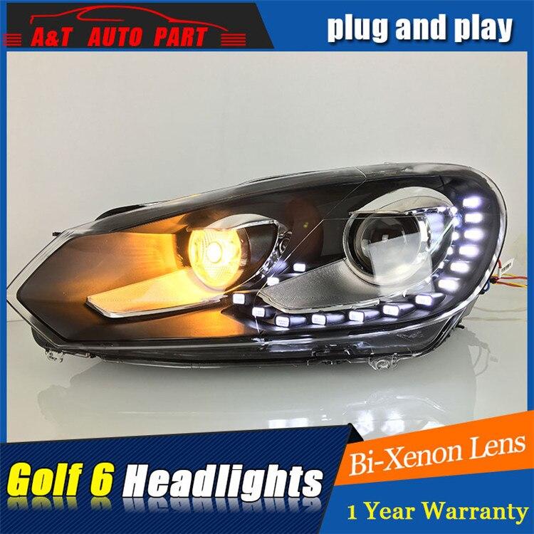 2009 2013 for vw golf MK6 headlights car styling For vw golf 6 DRL LED tear