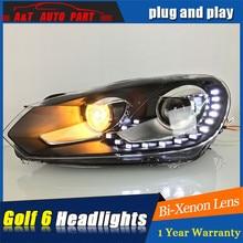2009-2013 для vw golf MK6 фары, автомобильные аксессуары для vw golf 6 DRL светодиодный оторвать глаз bi xenon объектива светодиодные лампы для парковки головка лампы