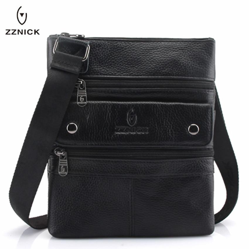 ZZNICK 2019 Genuine Leather Men Messenger Bag Hot Sale Male Small Man Fashion Crossbody Shoulder Bags Men's Travel New Handbags