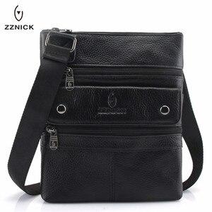 Image 1 - ZZNICK 2020 Genuine Leather Men Messenger Bag Hot Sale Male Small Man Fashion Crossbody Shoulder Bags Mens Travel New Handbags