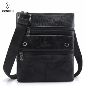 Image 1 - Zznic bolsa masculina de couro legítimo, bolsa masculina de tamanho pequeno em couro legítimo, modelo carteiro com alça carteiro, ideal para viagens, 2020 bolsas de mão