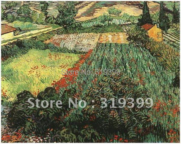 Linen Canvas Oil Painting reproduction,Field with Poppies by vincent van gogh,100% handmade,Free DHL Shipping,Museum quality