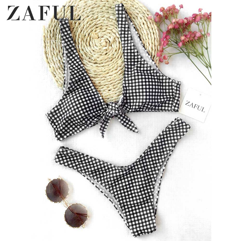 ZAFUL Bikini Thong Plaid Front Tie Bikini Set Plunging Neck Swimsuit Wire Free Padded Swimwear Women 2019 Bathing Suit Biquini