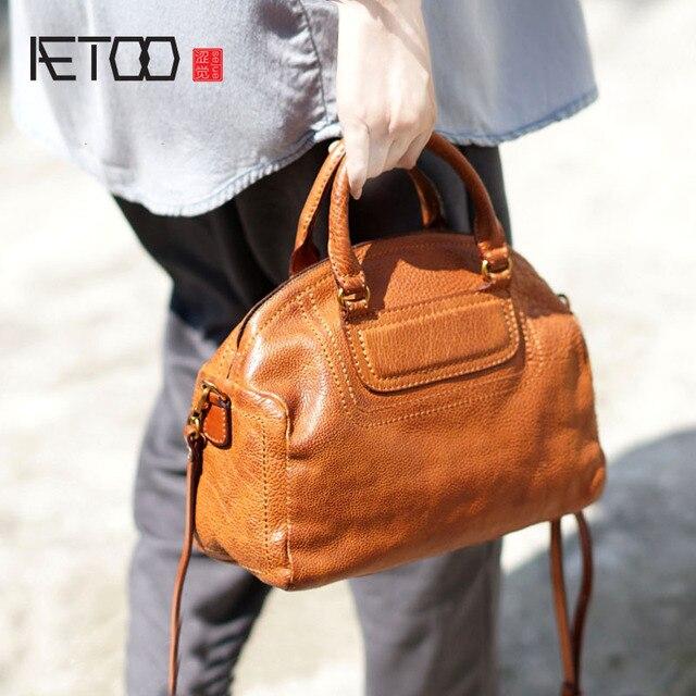 afe2c5ec60 AETOO Leather literary Sen retro shawl back hand bag handbags handmade  leather simple shoulders do the