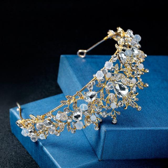 Pearl  new hot Luxury Elegant Crown Full Diamond Fower Pearl Tiara Headband Ladies Jewelry drop shipping *2