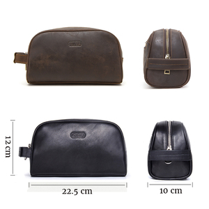 Image 3 - CONTACTS cosmetic bag small for men crazy horse leather vintage toiletry case black travel bag hand held make up wash bags male