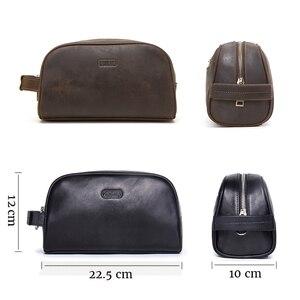 Image 3 - CONTACTS kosmetyczka mała dla mężczyzn skóra crazy horse vintage opakowanie na przybory do makijażu czarna torba podróżna ręczne torby do zmywania męskie
