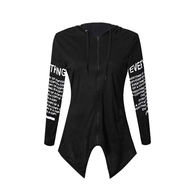 Letter Print Hooded Pullovers Harajuku Style Women Sweatshirts Irregular Sportswear Zipper Design Female Hoodies Outerwears New
