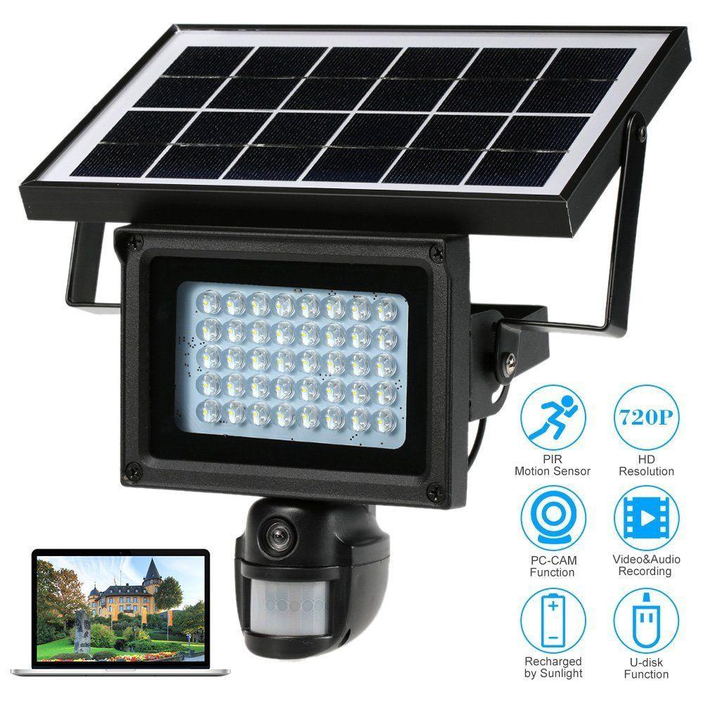 720P HD Solar IP Camera PIR Motion Detection CCTV Security Camera DVR Recorder With 40 IR LEDS Solar Floodlight Street Lamp недорго, оригинальная цена