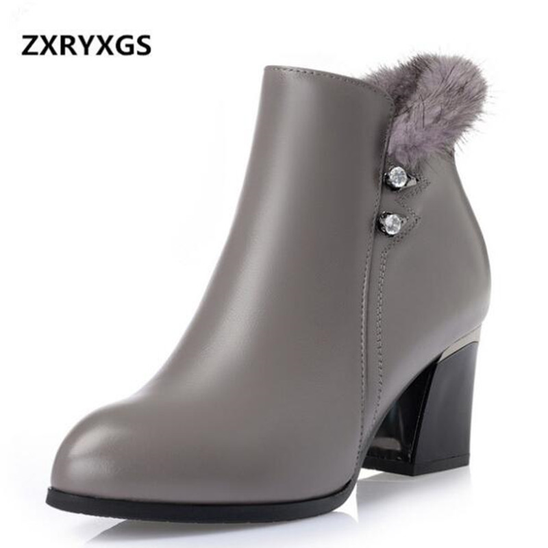 ZXRYXGS Brand Shoes Elegant Fashion Full Genuine Leather Boots Women Boots 2018 Winter Mink Hair Pointed Ankle Boots Snow BootsZXRYXGS Brand Shoes Elegant Fashion Full Genuine Leather Boots Women Boots 2018 Winter Mink Hair Pointed Ankle Boots Snow Boots