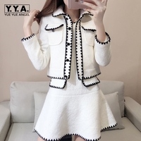 Fashion Suit Female 2018 Winter New Woolen Jacket Small Fragrance Woolen Funky Suit Dress Slim Thin Thick Womens Single Breasted