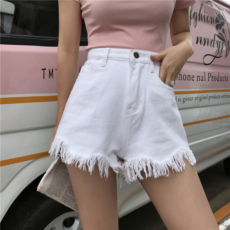 Streetwear Cool Girl Black Shorts Women Pockets White All-match Slim Tassel Denim Shorts Summer Korean Fashion Shorts High Waist