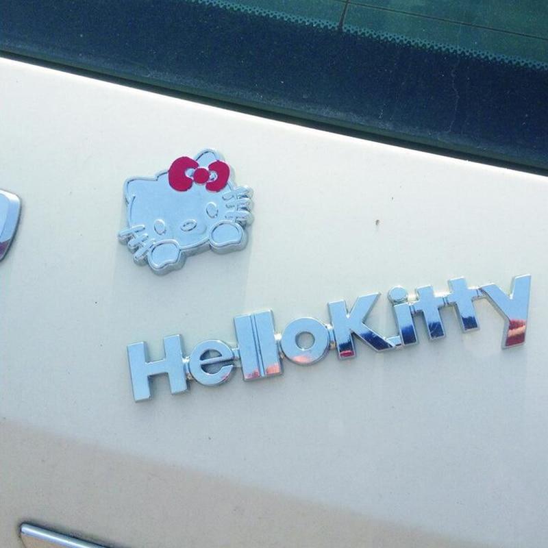 Ren metall 3D-tecknad Hello Kitty bilklistermärkesats Kattskydd - Exteriör biltillbehör - Foto 2
