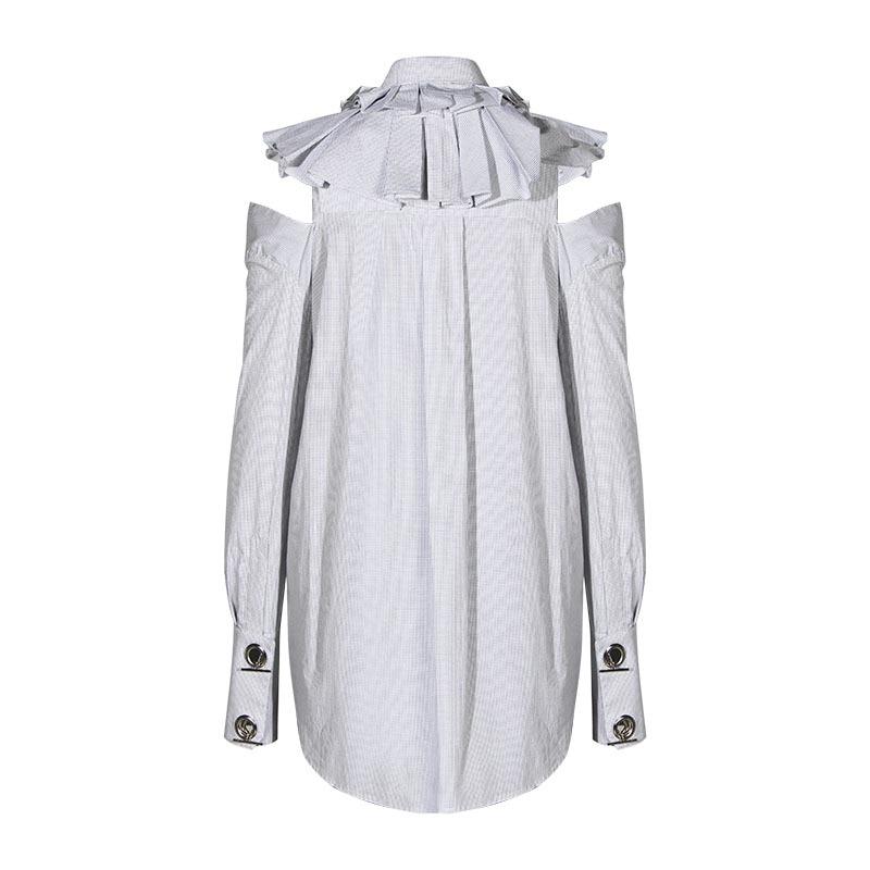 Chemises Blanc Irrégulière Décontracté Encolure Chic Coton Feuille Lotus Hauts Femmes De 2019 Pour Chemisiers Femme Plaid Bord Volants Blouse Chemise dorBCxeW