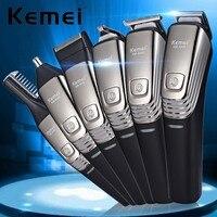 Kemei 6 In 1 Rechargeable Hair Trimmer Titanium Hair Clipper Electric Shaver Razor Cordless Grooming Kit For Men Beard Trimmer