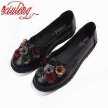 2017 туфли в ретро-стиле для женщины обувь ручной работы натуральная кожа Квартиры с бабочка-узел весенние женские сандалии с цветами обувь для мам