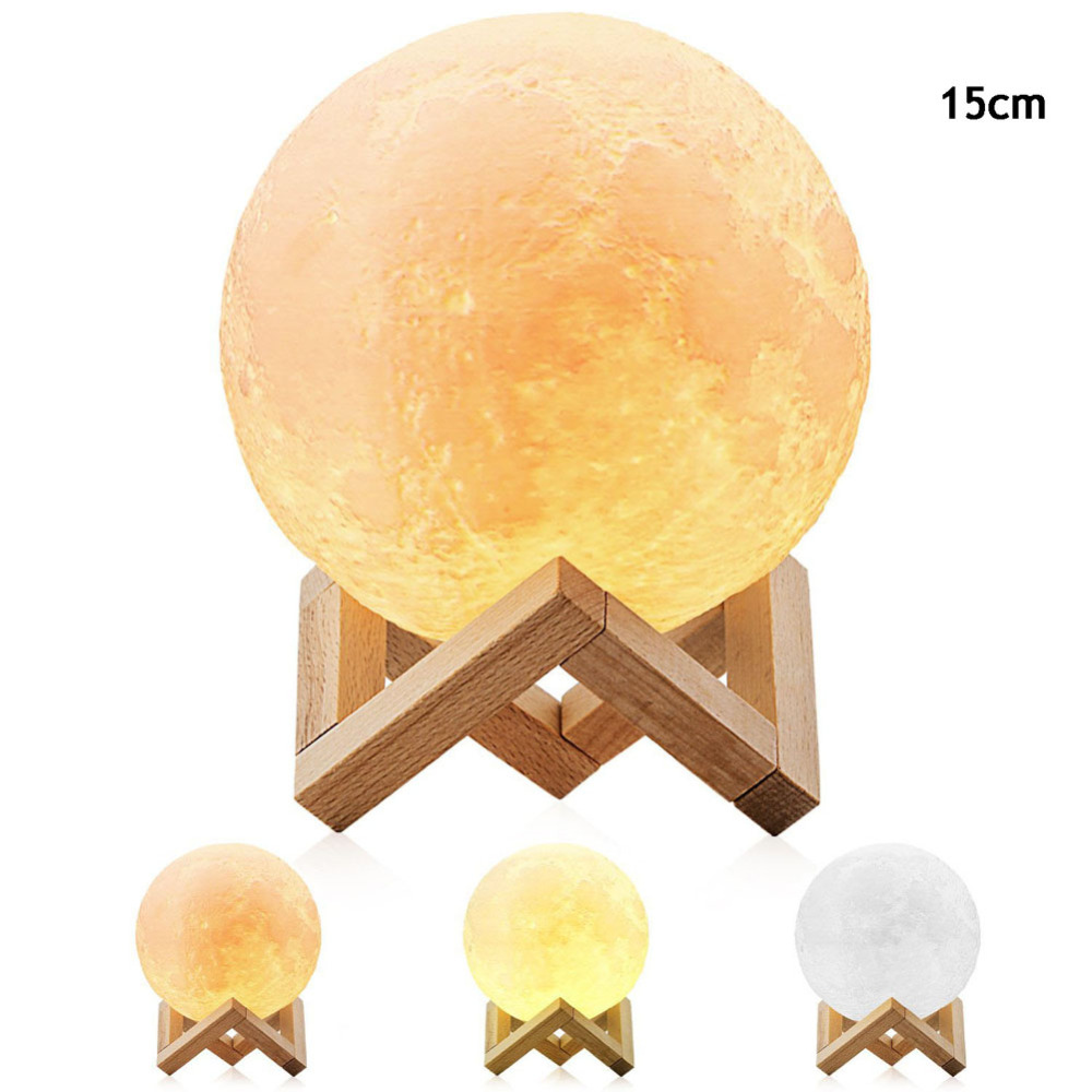 Rechargeable 3D Magical Moon LED Night 3 Color Change Pat Swtich Bedroom Bookcase Night Light Decor Creative Gift