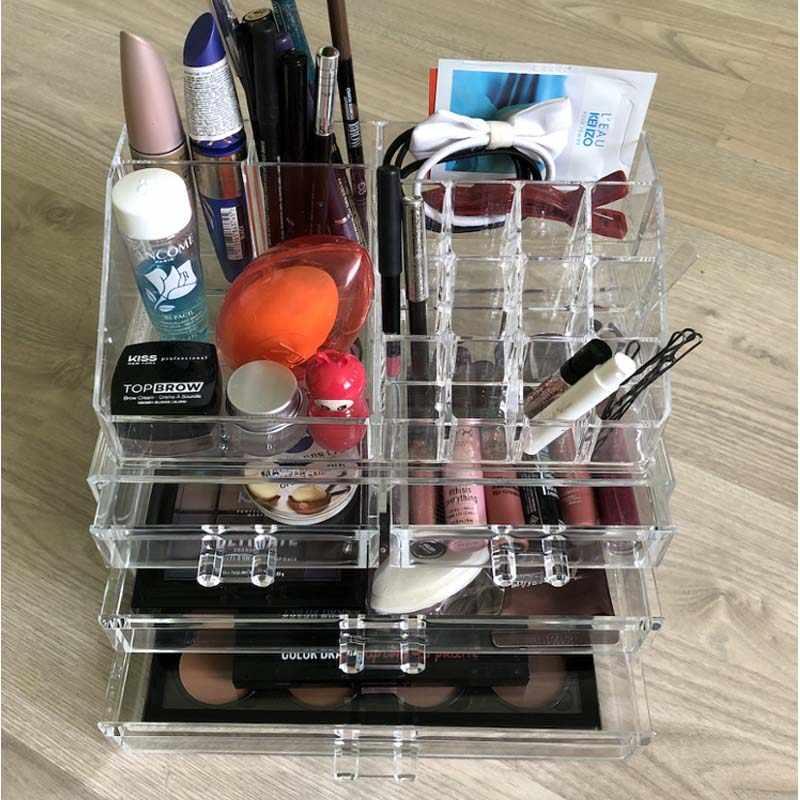 新クリアアクリル化粧収納ケースマニキュアラック口紅化粧品収納ボックスホルダーメイクブラシ化粧オーガナイザー