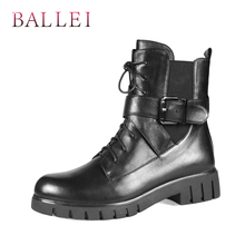 BALLEI Handmade Winter Woman Warm Ankle Boots High Quality Cow Leather Vintage Short Plush Shoes Classic Round Toe Soft Boot B18