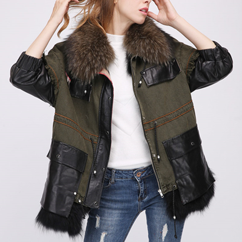 AiyangSilan Women Winter Army Green Jacket Coats Thick Parkas Large Real Raccoon Fur Collar Hooded Outwear fur collar coat parka