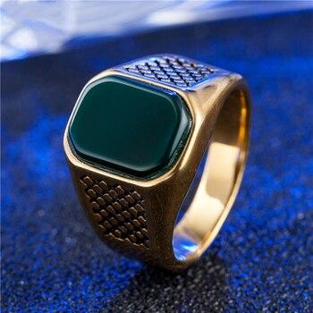 1f5001ed50ab Natural cuadrado negro Verde rojo PIEDRA DE ónix de acero inoxidable para  hombre anillo de oro Color plata Simple anillo de sello genial
