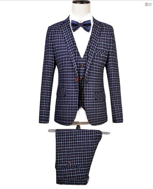 M 6XL HOT 2019 Spring NEW fashion plus size men clothing suits wedding dress groom suit slim fashion singer costumes Three piece