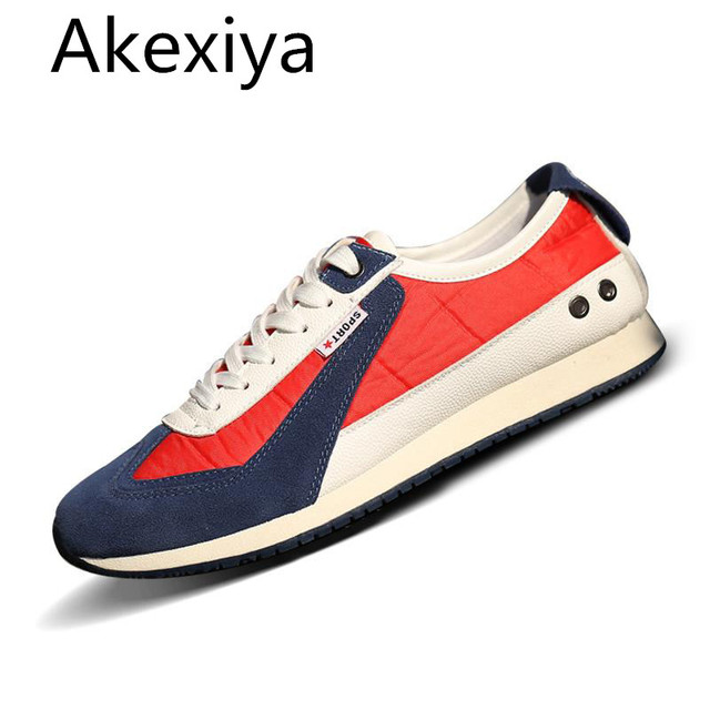 Akexiya Plimsolls Canvas Shoes Men Breathable Fashion Patchwork Comfortable Men Shoes lace-up Casual Gumshoe Leather Shoes