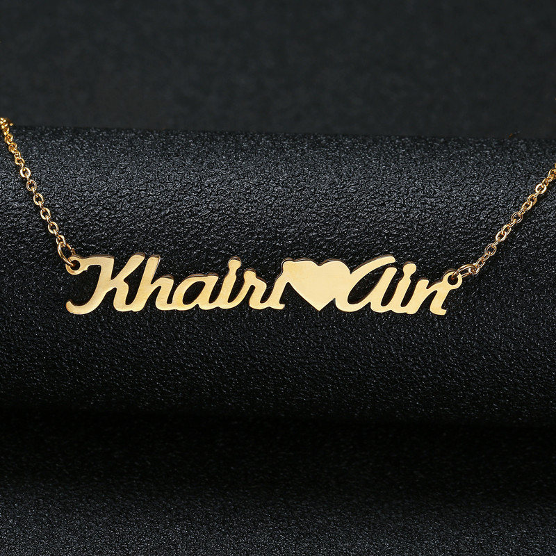 Personalized Name Necklaces & Pendant For Women Girl Fashion Custom Name Heart Necklaces Silver Gold Choker DIY Jewelry Gifts