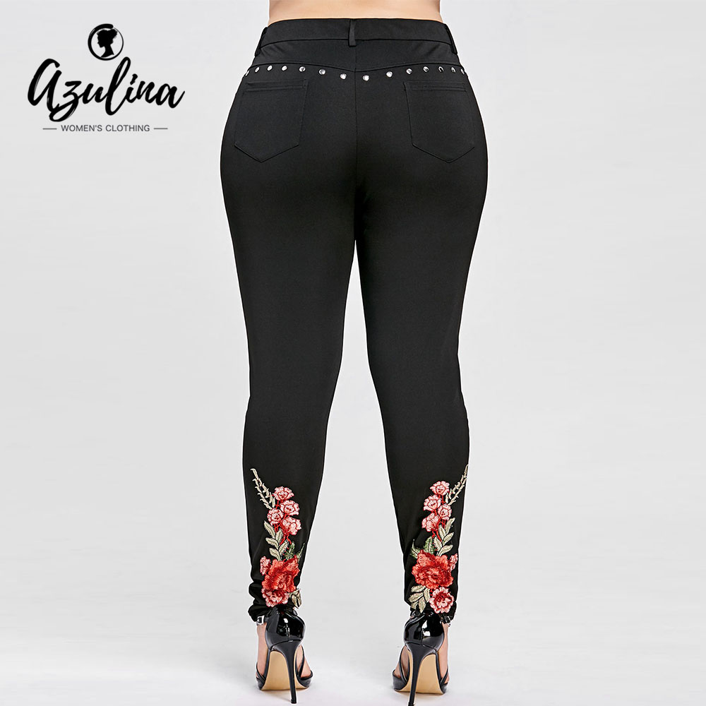 AZULINA Plus Size Floral Embroidery Rivet Pencil Pants Women Leggings Skinny High Elastic Women Trousers Big Size Ladies Pants ...