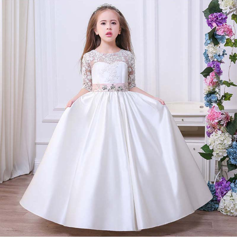 2-13Yrs Kids Girls Long White Lace Flower Party Ball Gown Prom Dresses Kids Girl Princess Wedding Children First Communion Dress seiko ssa277j2