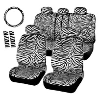 Dewtreetali Seat Cover Protector Car styling Luxury Zebra Seat Covers Universal Fit Most Car Steering Wheel Cover Shoulder Pad