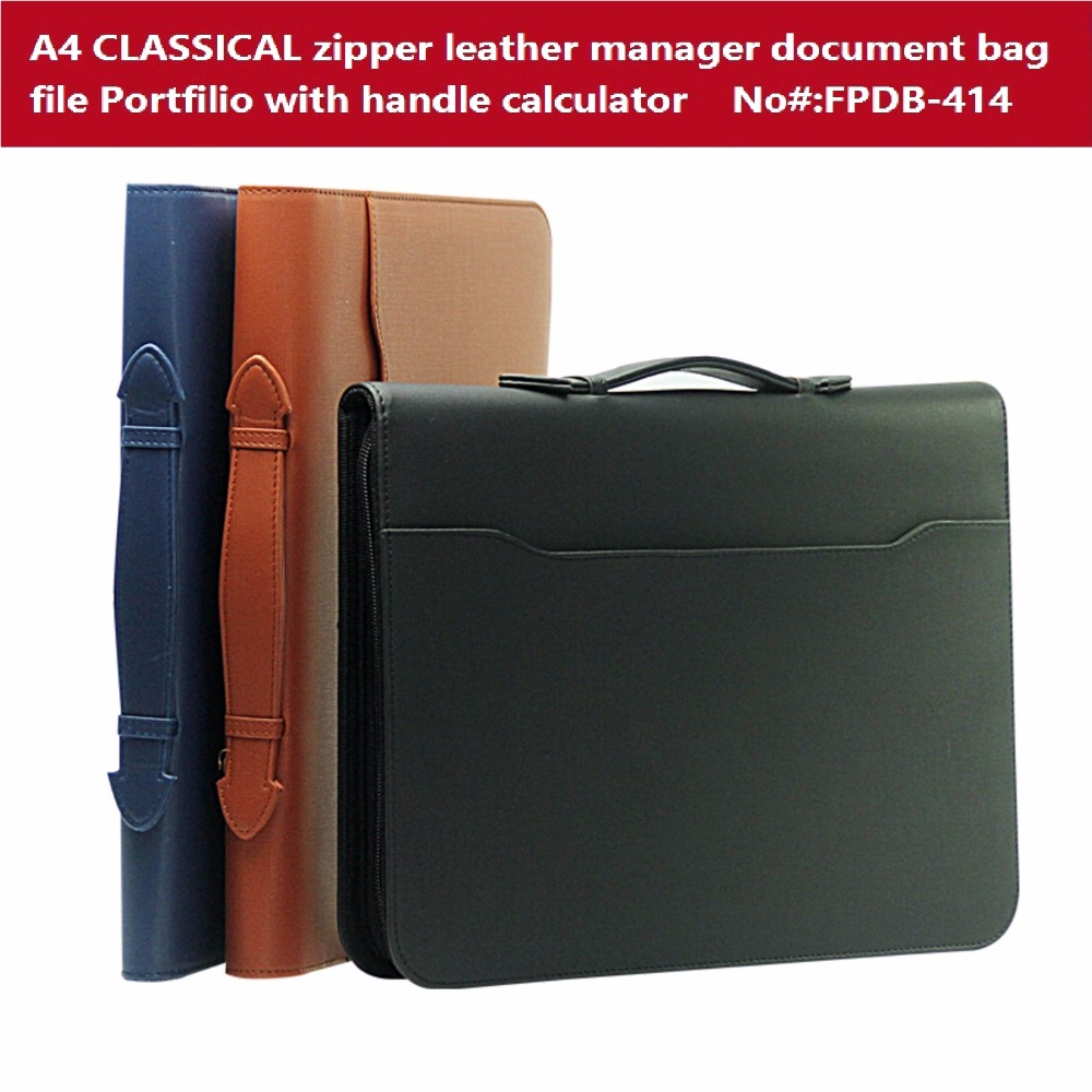 French Design Business File Folder Brief A4 zipper leather portfilio Handle Manager Bag Harphia FPDB-414 rat model ii folder sp black handle