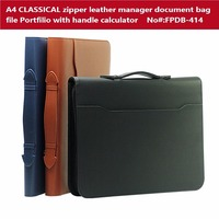 French Classical A4 Zipper Leather Portfilio With Calculator Handle Manager Document Bag Business File Folder Brief