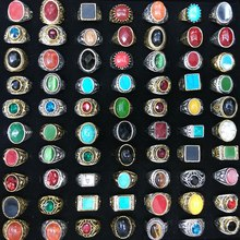 Lote variado de anillos de piedra Natural de plata de Color dorado para hombre, anillos de estilo chino arcaico, 50 Uds.