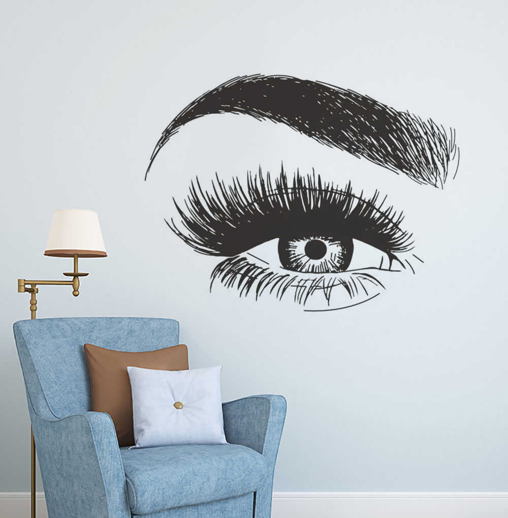 Ciglia finte di Estensione Della Parete Art Sticker Eye Sopracciglia Decalcomania Della Parete Del Vinile Make Up Studio Decor Ciglia Bellezza Finestra Poster AZ137