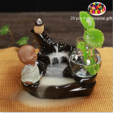 2 different Style Cute Monk Blackflow Ceramic with 20 pcs Incense Gift River Insence Holder Bakhoor Waterfall