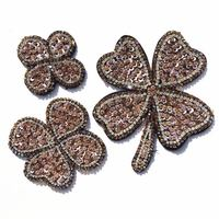 1set 3PC Clover Crystal Sequin Applique Petal Floral Patches Beaded Craft For Bags Dress Decorated Sewing