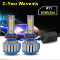 Taitian Pair H8/H9/H11 COB LED Car Turbo Headlight Conversion Bulbs Kit 6000K 6000LM 60W